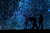 Two amateur astronomers looking through a refracting telescope at the night sky. ***Inspectors note. The image is a composite. The model release date refers to the shoot date of the models***