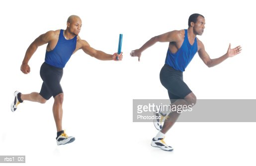 two young black men in blue tank tops are running a race as they pass a blue baton