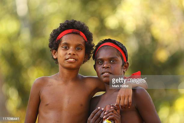 Two young boys from the Yarrabah community pose during the Laura Aboriginal Dance Festival on June 17 2011 in Laura Australia The Laura Aboriginal...