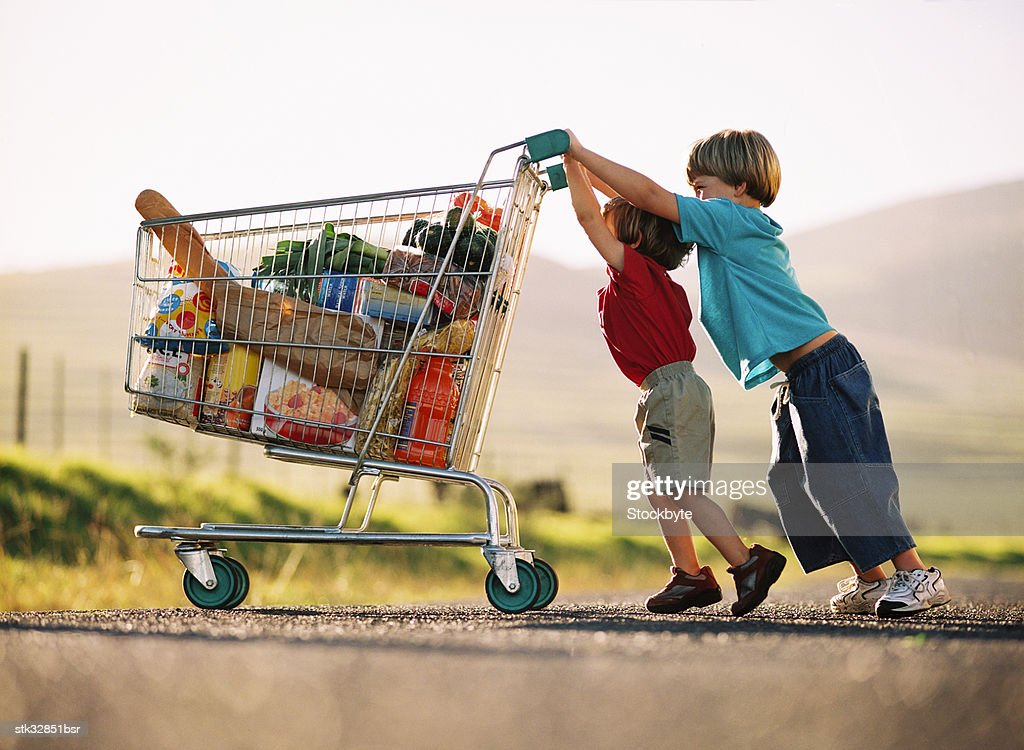 two young children pushing a shopping cart with groceries : Stock Photo