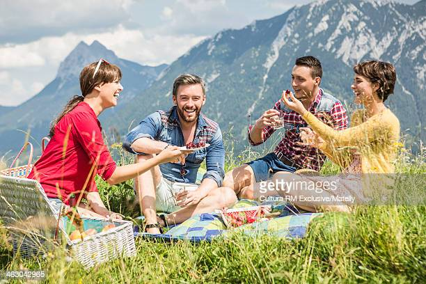 Two young couples sharing picnic, Tyrol, Austria