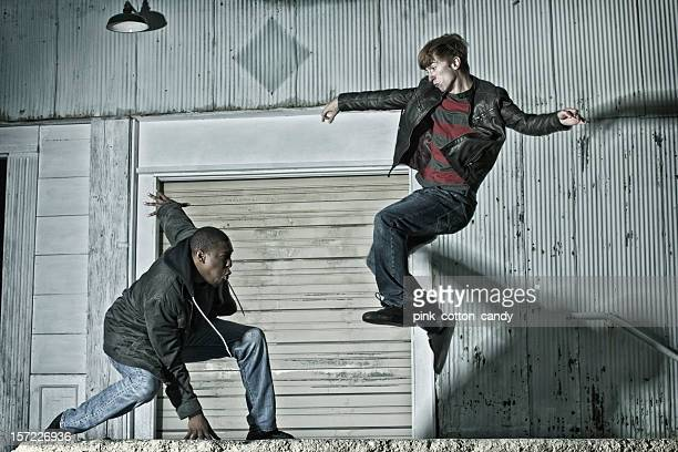 Two Young Men Practicing Kenpo Karate on the Street