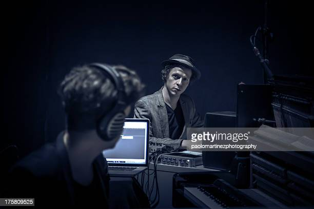 two young music composer at work