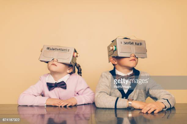 Two Young Nerds with Virtual Reality Headsets