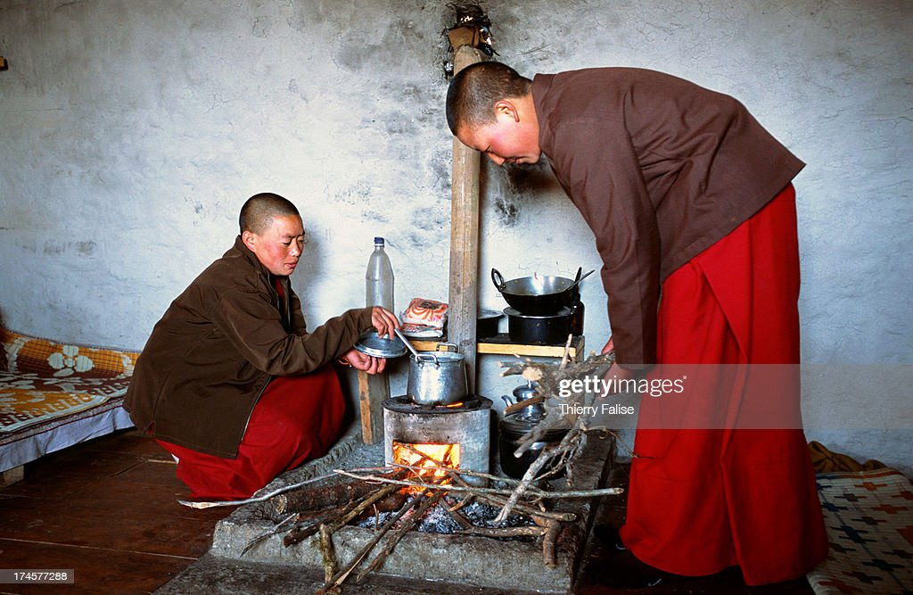 Two young nuns in the cell they share at the Brandong Chung monastery