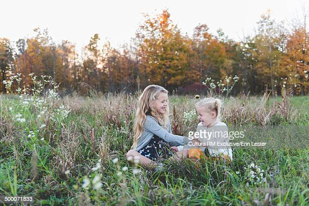 Two young sisters tickling each other in meadow