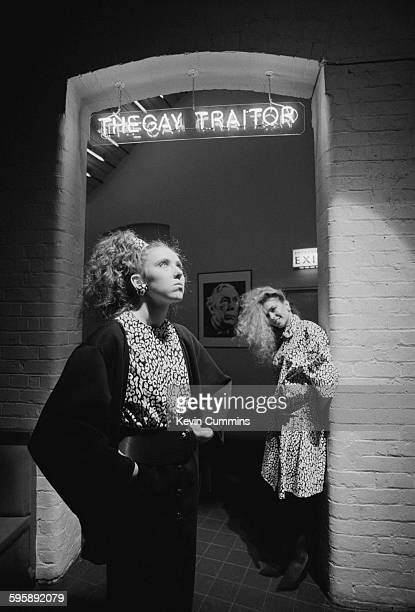 Two young women at the entrance to The Gay Traitor cocktail bar at The Hacienda nightclub Manchester 1983 The bar takes its name from Sir Anthony...