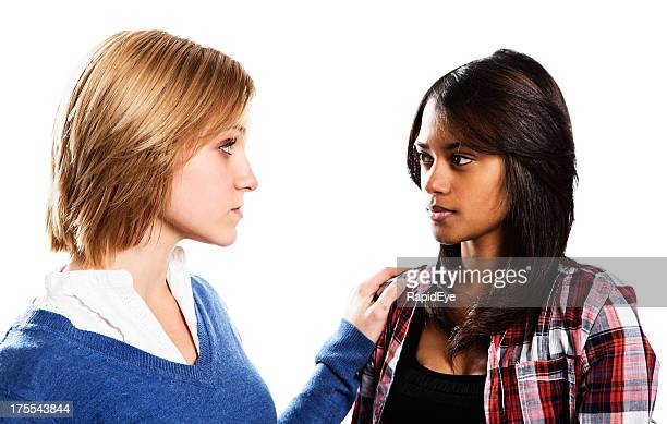 Two young women have a serious heart-to-heart discussion