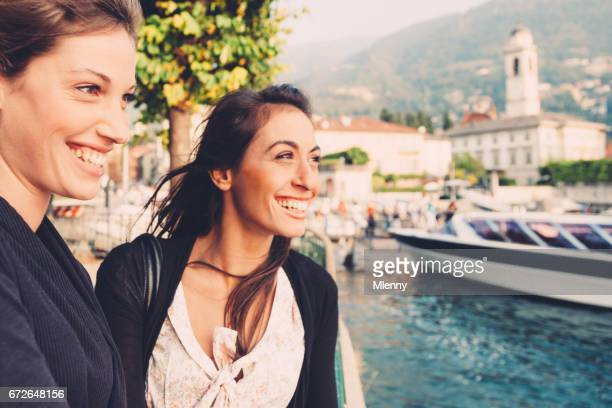 Two Young Women Having Fun Lake Como Vacations Italy