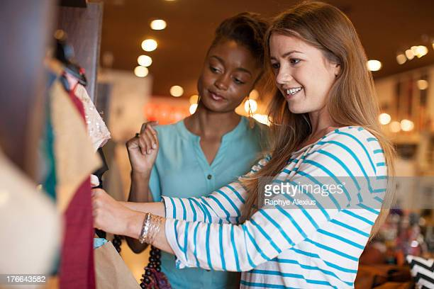 Two young women in vintage shop
