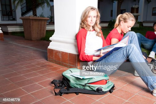 Two young women on campus : Stock Photo