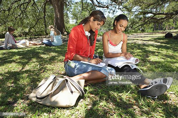Two young women studying on grass, close-up