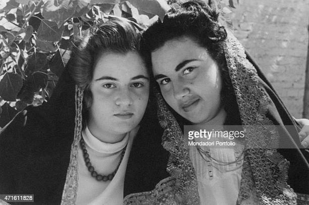 'Two young women wearing traditional clothes of Molise Campobasso 1950s '
