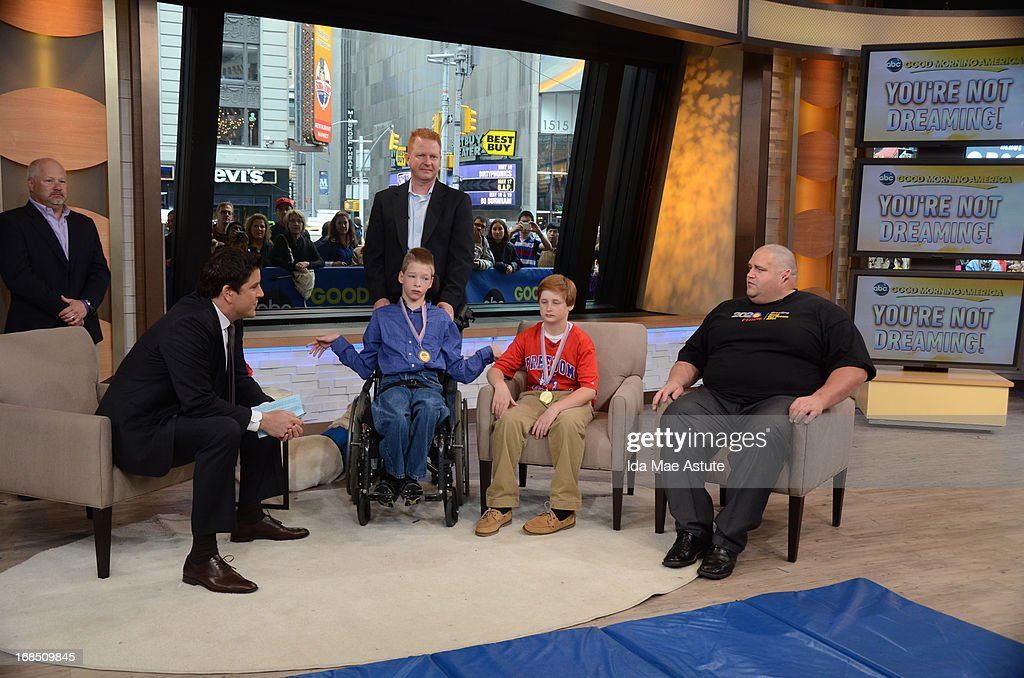 AMERICA - Two young wrestlers meet their idol, Olympic wrestler Rulon Gardner, on GOOD MORNING AMERICA, 5/9/13, airing on the ABC Television Network. (Photo by Ida Mae Astute/ABC via Getty Images) JOSH