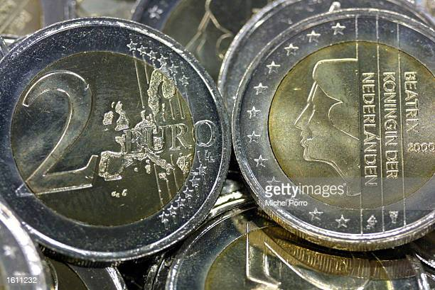 TwoEuro coins are readied for distribution August 28 2001 in the Netherlands Bank depot in Lelystad Holland The first of some 28 billion Dutch coins...