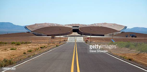 A twolane blacktop road leads to the West entrance of Spaceport America the site of Colombia Pictures' 'After Earth' Press Junket on MAY 17 2013...