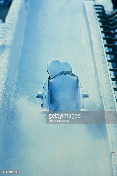 Two-man bobsled on run, rear view