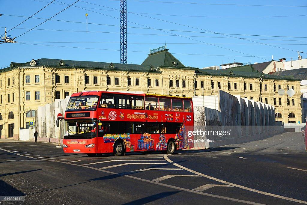 two-storey tourist bus City Sightseeing on  street Varvarka : Stock Photo