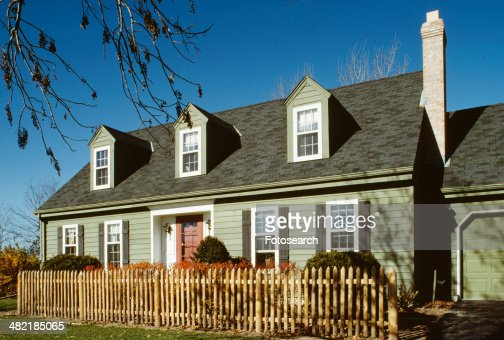 Twostory Single Family Green Cape Cod With Three Dormers Stock Photo Getty Images