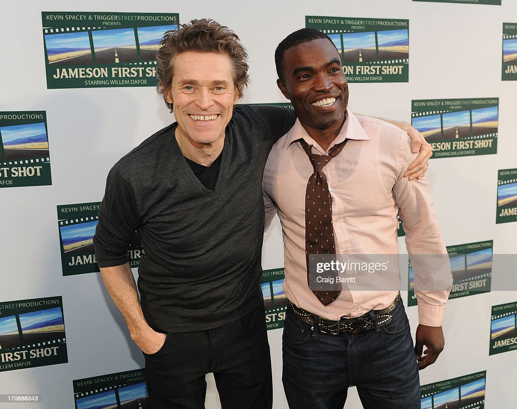 Two-time Academy Award-nominee Willem Dafoe and Damien D Smith attend the premiere of Love's Routine, the winning US film from the Trigger Street Productions Presents Jameson First Shot competition at the Wythe Hotel on June 19, 2013 in Brooklyn, New York.