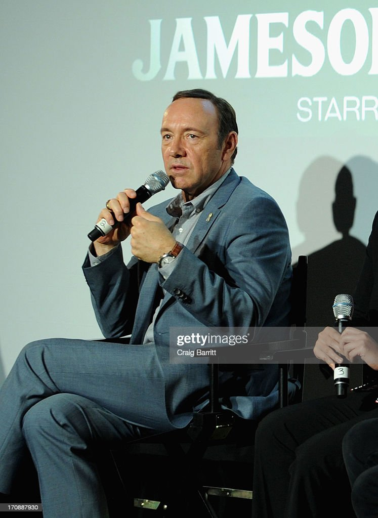 Two-time Academy Award-winning Kevin Spacey speaks onstage at the premiere of Love's Routine, the winning US film from the Trigger Street Productions Presents Jameson First Shot competition at the Wythe Hotel on June 19, 2013 in Brooklyn, New York.