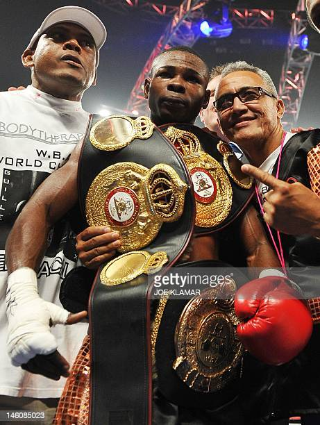 Twotime Olympic gold medallist Guillermo Rigondeaux who defected to the US from Cuba in 2007 celebrates as his knock out victory over Teon Kennedy of...