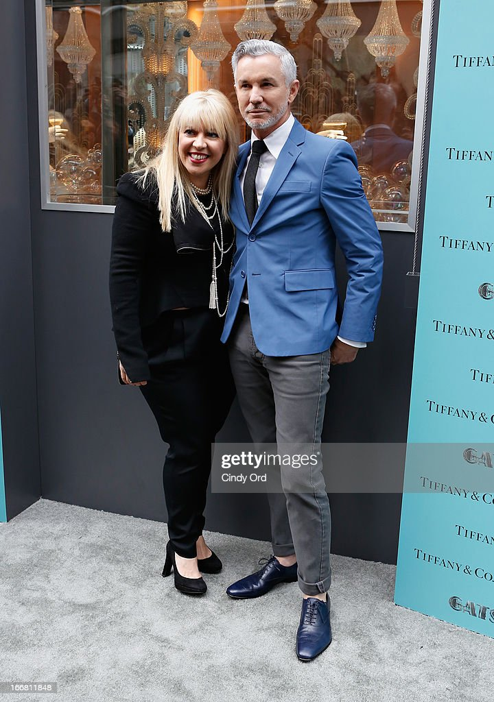 Two-time Oscar-winning costume and production designer, Catherine Martin and writer/director/producer Baz Luhrmann attend the Great Gatsby Window Unveiling at Tiffany & Co. on April 17, 2013 in New York City.