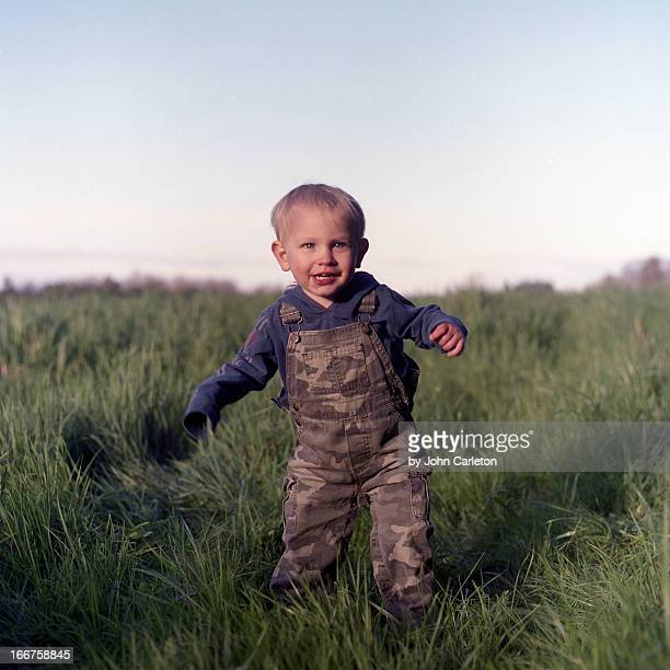 Two-year-old boy in a field