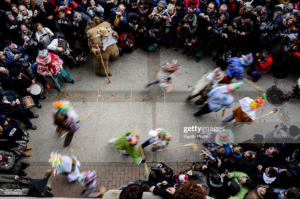 Txatxos come out from a house during the ancient carnival of Lantz, in North of Navarra.