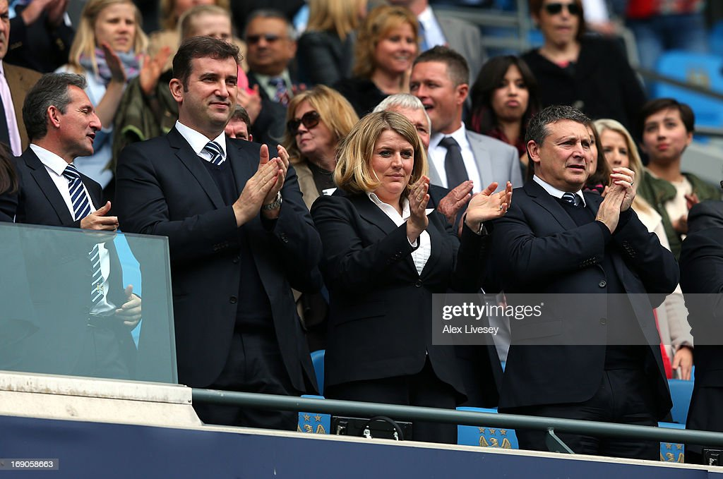 Txiki Begiristain the Director of Football at Manchester City, Ferran Soriano the CEO and Vicky Kloss the chief communications officer of Manchester City look on prior to the Barclays Premier League match between Manchester City and Norwich City at Etihad Stadium on May 19, 2013 in Manchester, England.