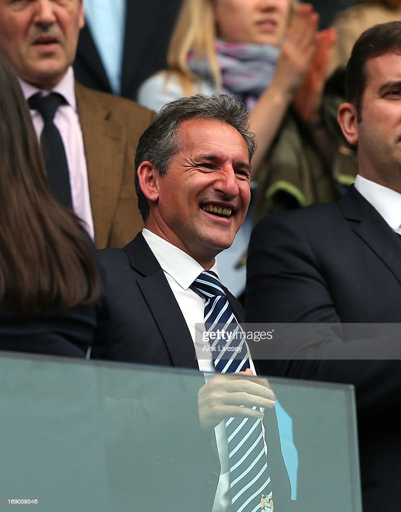 Txiki Begiristain the Director of Football at Manchester City looks on prior to the Barclays Premier League match between Manchester City and Norwich City at Etihad Stadium on May 19, 2013 in Manchester, England.
