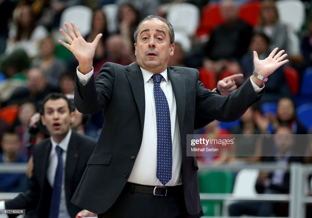 Txus Vidorreta, Head Coach of Valencia Basket in action during the 2017/2018 Turkish Airlines EuroLeague Regular Season Round 6 game between CSKA Moscow and Valencia Basket at Megasport Arena on November 9, 2017 in Moscow, Russia.