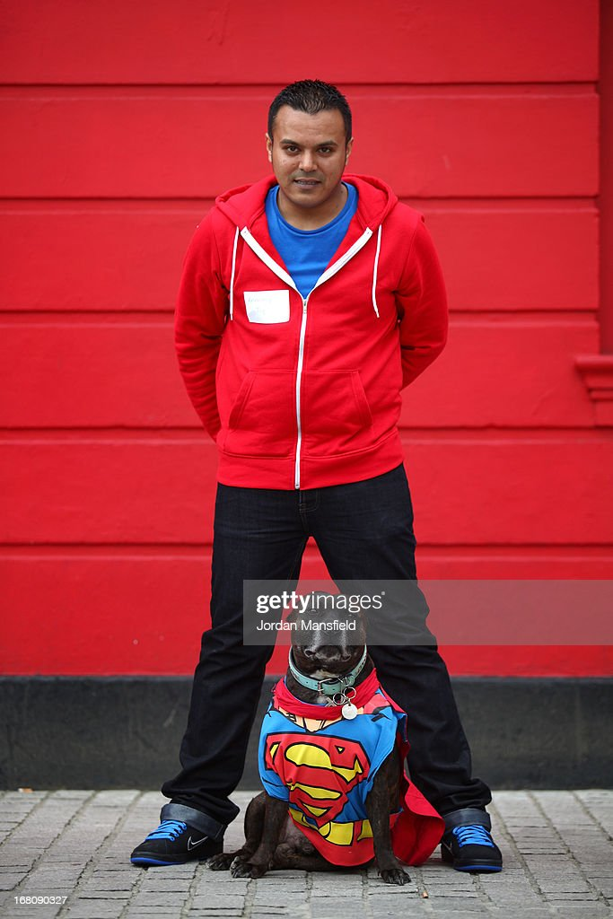 Ty, a Staffordshire Bull Terrier is dressed up as the character Superman with owner Anthony Farrante on May 5, 2013 in London, England. Enthusiasts gathered at the Picture House in Stratford to parade their dogs dressed up as famous Sci-Fi characters as part a London-wide event called Sci-Fi London.