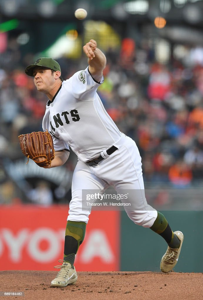 Ty Blach #50 of the San Francisco Giants pitches against the Atlanta Braves in the top of the first inning at AT&T Park on May 27, 2017 in San Francisco, California.