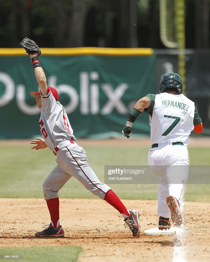Ty Blankmeyer #0 of the St John's Red Storm catches the ball getting Alexander Hernandez #7 of the Miami Hurricanes out at first base on May 5, 2013 at Alex Rodriguez Park at Mark Light Field in Coral Gables, Florida. Miami defeated St John's 6-4 and swept the weekend series.
