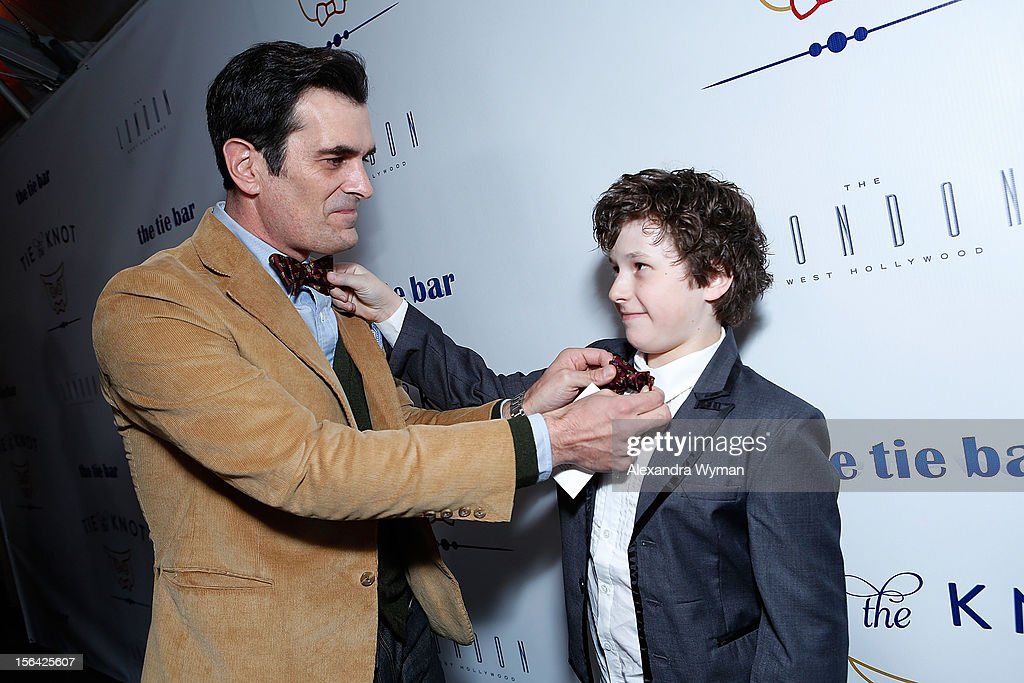 <a gi-track='captionPersonalityLinkClicked' href=/galleries/search?phrase=Ty+Burrell&family=editorial&specificpeople=700077 ng-click='$event.stopPropagation()'>Ty Burrell</a> and <a gi-track='captionPersonalityLinkClicked' href=/galleries/search?phrase=Nolan+Gould&family=editorial&specificpeople=5691358 ng-click='$event.stopPropagation()'>Nolan Gould</a> at the launch of Tie The Knot, a charity benefitting marriage equality through the sale of limited edition bowties available online at TheTieBar.com/JTF held at The London West Hollywood on November 14, 2012 in West Hollywood, California.