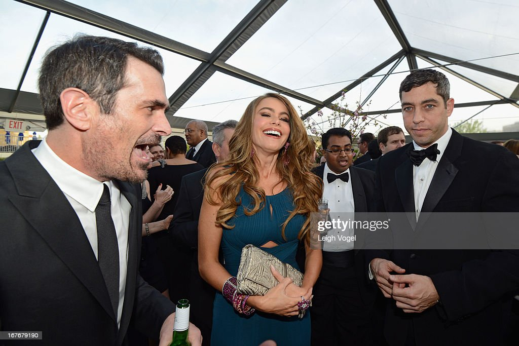<a gi-track='captionPersonalityLinkClicked' href=/galleries/search?phrase=Ty+Burrell&family=editorial&specificpeople=700077 ng-click='$event.stopPropagation()'>Ty Burrell</a>, <a gi-track='captionPersonalityLinkClicked' href=/galleries/search?phrase=Sofia+Vergara&family=editorial&specificpeople=214702 ng-click='$event.stopPropagation()'>Sofia Vergara</a> and <a gi-track='captionPersonalityLinkClicked' href=/galleries/search?phrase=Nick+Loeb&family=editorial&specificpeople=7091574 ng-click='$event.stopPropagation()'>Nick Loeb</a> attend ABC News, Yahoo! News, Univision Pre-White House Correspondents Dinner cocktail reception at Washington Hilton on April 27, 2013 in Washington, DC.