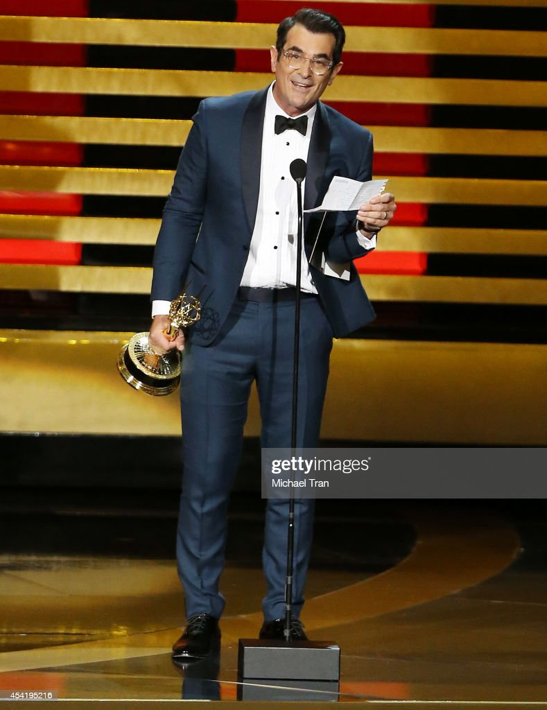 Ty Burrell speaks onstage during the 66th Annual Primetime Emmy Awards held at Nokia Theatre LA Live on August 25 2014 in Los Angeles California