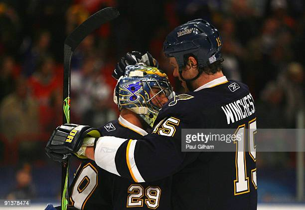 Ty Conklin and Brad Winchester of St Louis Blues celebrate at the end of the 2009 Compuware NHL Premiere Stockholm match between St Louis Blues and...