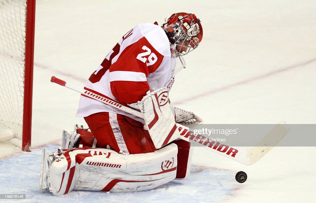 <a gi-track='captionPersonalityLinkClicked' href=/galleries/search?phrase=Ty+Conklin&family=editorial&specificpeople=203338 ng-click='$event.stopPropagation()'>Ty Conklin</a> #29 of the Detroit Red Wings at American Airlines Center on January 17, 2012 in Dallas, Texas.