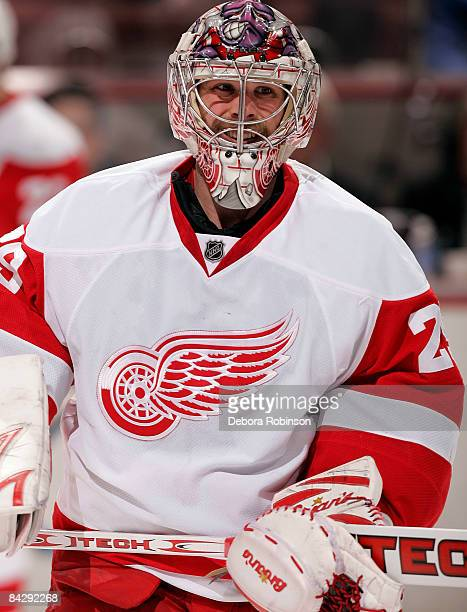 Ty Conklin of the Detroit Red Wings skates on the ice during warmups prior to the game against the Anaheim Ducks during the game on January 14 2009...