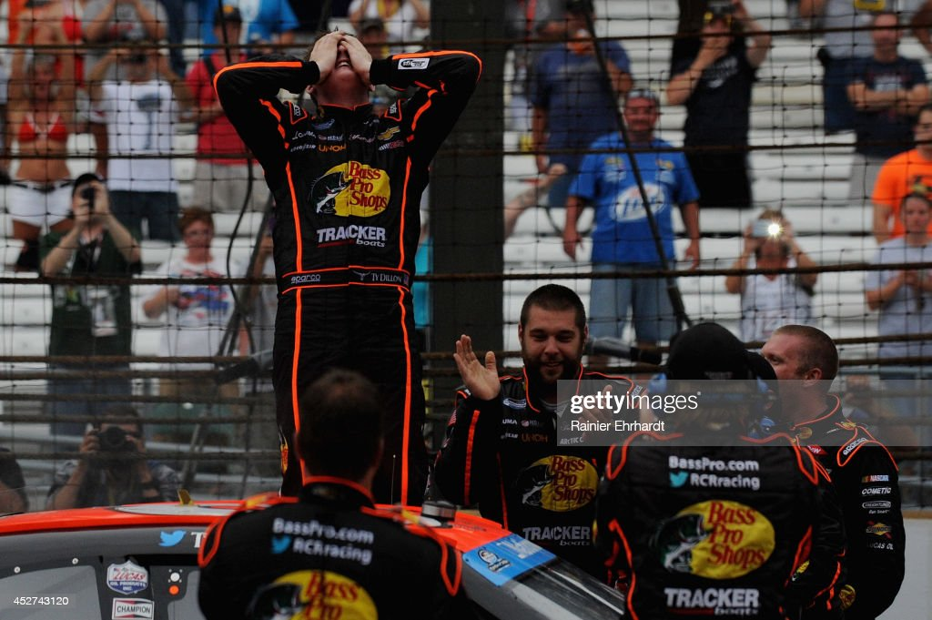 <a gi-track='captionPersonalityLinkClicked' href=/galleries/search?phrase=Ty+Dillon&family=editorial&specificpeople=6312493 ng-click='$event.stopPropagation()'>Ty Dillon</a>, driver of the #3 Bass Pro Shops Chevrolet, celebrates after winning the NASCAR Nationwide Series Lilly Diabetes 250 at Indianapolis Motor Speedway on July 26, 2014 in Indianapolis, Indiana.