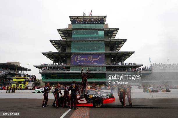 Ty Dillon driver of the Bass Pro Shops Chevrolet celebrates after winning the NASCAR Nationwide Series Lilly Diabetes 250 at Indianapolis Motor...