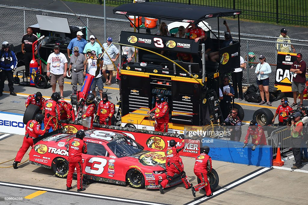 <a gi-track='captionPersonalityLinkClicked' href=/galleries/search?phrase=Ty+Dillon&family=editorial&specificpeople=6312493 ng-click='$event.stopPropagation()'>Ty Dillon</a>, driver of the #3 Bass Pro Shops Chevrolet, pits during the NASCAR XFINITY Series Sparks Energy 300 at Talladega Superspeedway on April 30, 2016 in Talladega, Alabama.