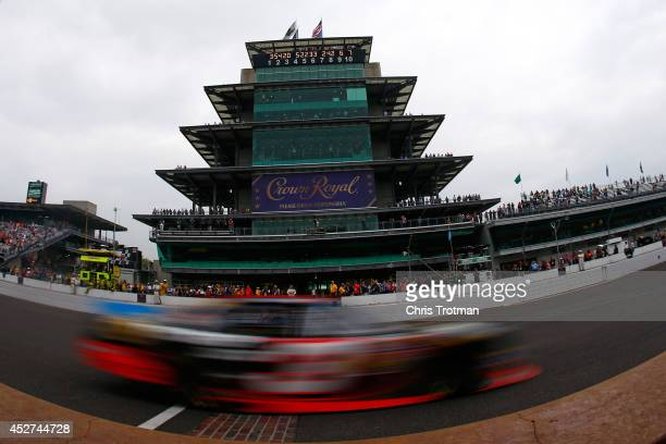 Ty Dillon driver of the Bass Pro Shops Chevrolet races the NASCAR Nationwide Series Lilly Diabetes 250 at Indianapolis Motor Speedway on July 26 2014...