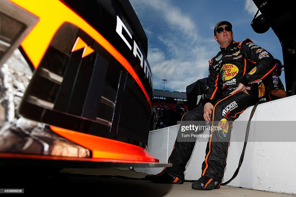 Ty Dillon, driver of the #3 Bass Pro Shops Chevrolet, sits on the pit wall during qualifying for the NASCAR Nationwide Series Food City 300 at Bristol Motor Speedway on August 22, 2014 in Bristol, Tennessee.