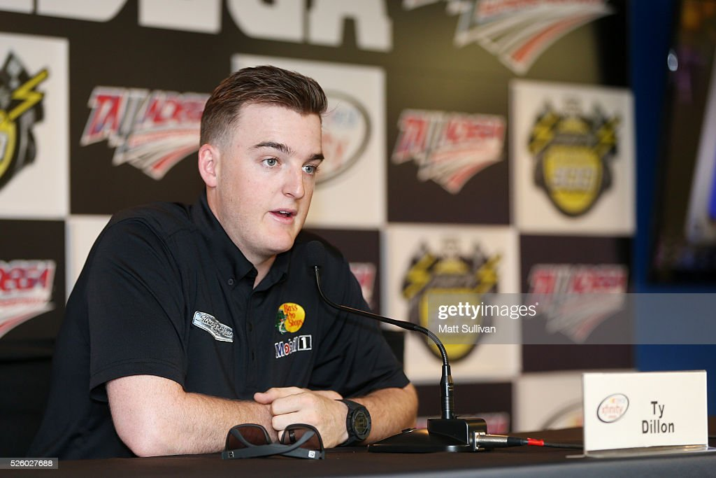 <a gi-track='captionPersonalityLinkClicked' href=/galleries/search?phrase=Ty+Dillon&family=editorial&specificpeople=6312493 ng-click='$event.stopPropagation()'>Ty Dillon</a>, driver of the #3 Bass Pro Shops Chevrolet, speaks to the media during a press conference prior to practice for the NASCAR XFINITY Series Sparks Energy 300 at Talladega Superspeedway on April 29, 2016 in Talladega, Alabama.