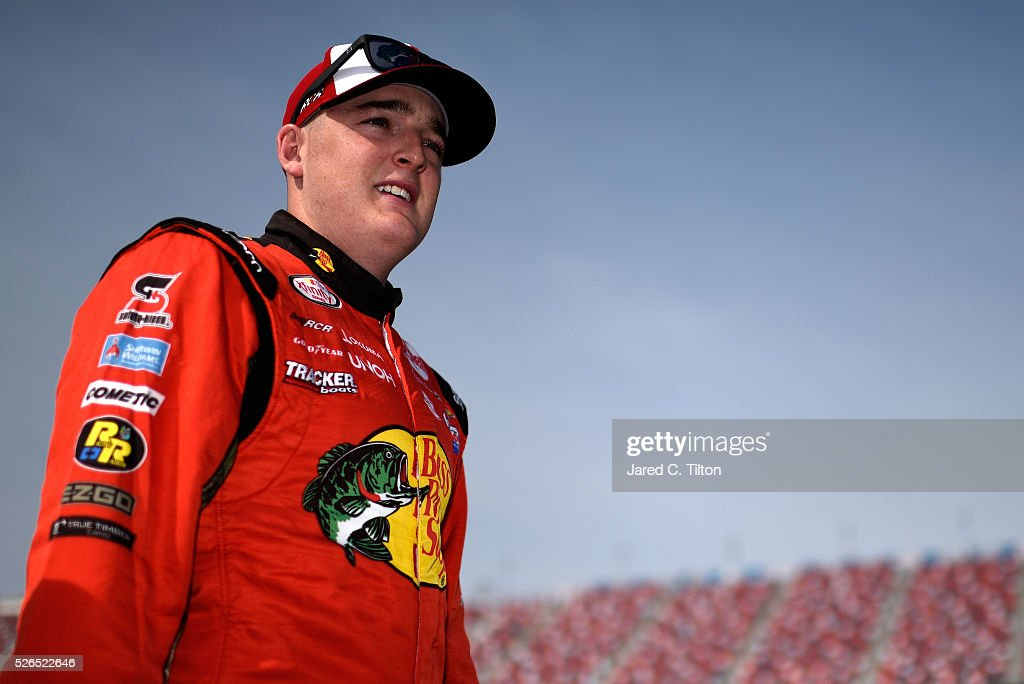 Ty Dillon, driver of the #3 Bass Pro Shops Chevrolet, stands on the grid during qualifying for the NASCAR XFINITY Series Sparks Energy 300 at Talladega Superspeedway on April 30, 2016 in Talladega, Alabama.
