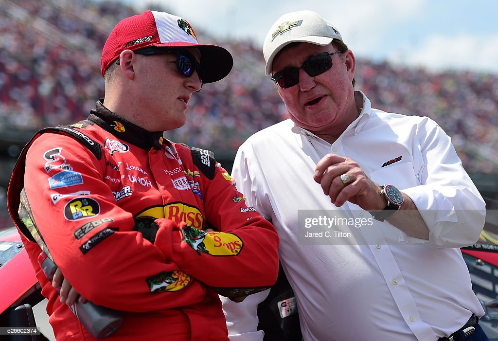 <a gi-track='captionPersonalityLinkClicked' href=/galleries/search?phrase=Ty+Dillon&family=editorial&specificpeople=6312493 ng-click='$event.stopPropagation()'>Ty Dillon</a>, driver of the #3 Bass Pro Shops Chevrolet, talks to team owner <a gi-track='captionPersonalityLinkClicked' href=/galleries/search?phrase=Richard+Childress&family=editorial&specificpeople=604335 ng-click='$event.stopPropagation()'>Richard Childress</a> on the grid during pre-race ceremonies for the NASCAR XFINITY Series Sparks Energy 300 at Talladega Superspeedway on April 30, 2016 in Talladega, Alabama.