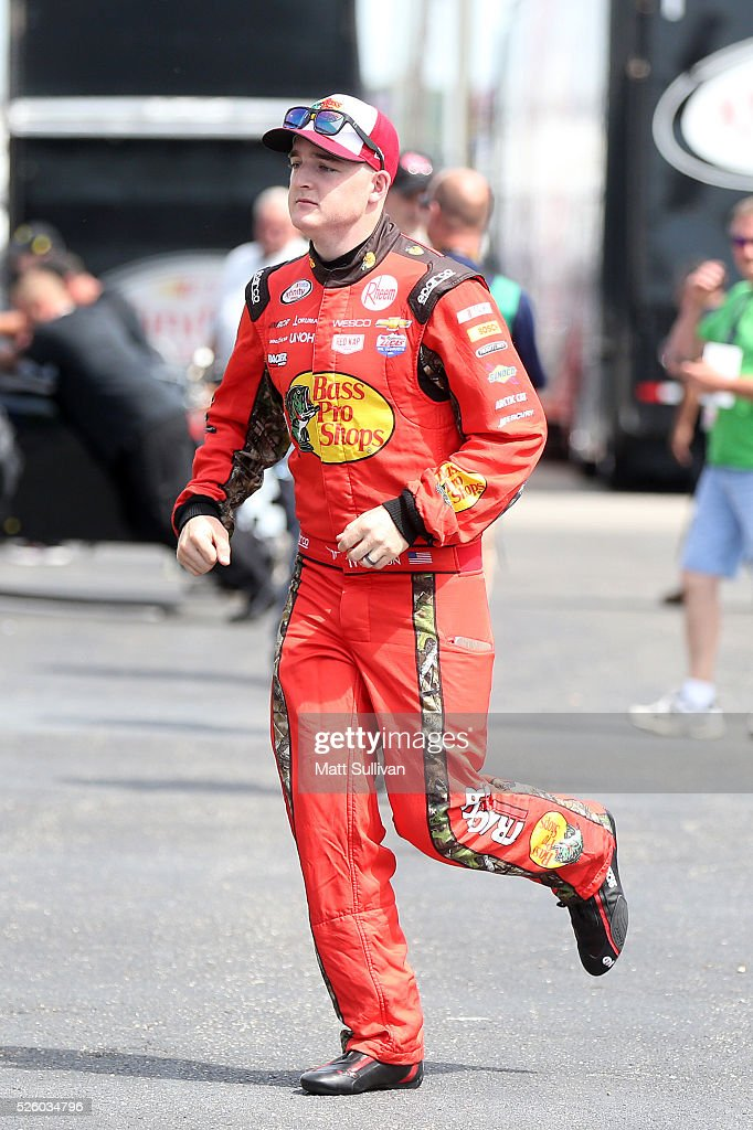 <a gi-track='captionPersonalityLinkClicked' href=/galleries/search?phrase=Ty+Dillon&family=editorial&specificpeople=6312493 ng-click='$event.stopPropagation()'>Ty Dillon</a>, driver of the #3 Bass Pro Shops Chevrolet, walks through the garage area during practice for the NASCAR XFINITY Series Sparks Energy 300 at Talladega Superspeedway on April 29, 2016 in Talladega, Alabama.